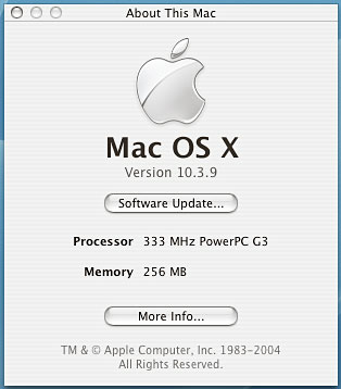 About the Mac - 10.3.9